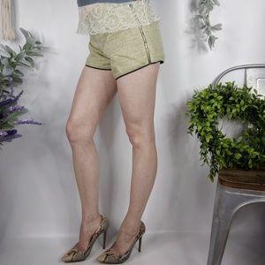 CLUB MONACO chartreuse tweed shorts zip side 0815